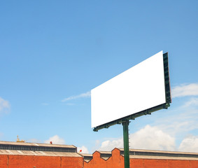 blank big signboard with blue sky