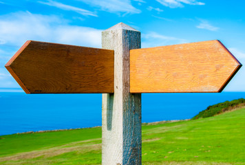 Blank wooden signpost with two arrows over clear blue sky