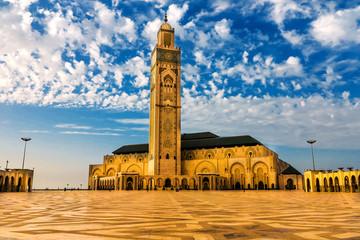 Moschee Hasan II am Strand von Casablanca im Abendlicht