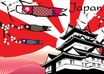 Japanese Castle with fish flag and fuji mountain vector
