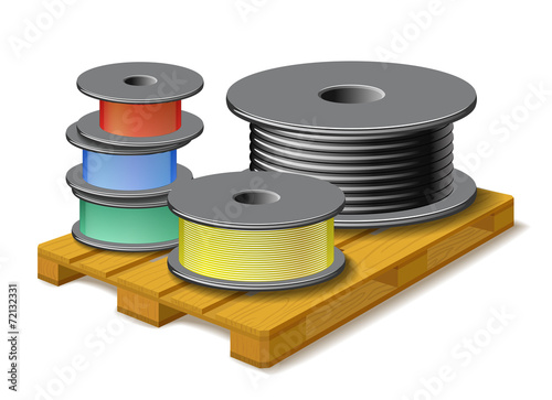 Different cables are on wooden pallet. - 72132331