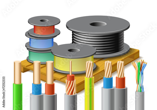 Different kinds of cables are on wooden pallet. - 72132333