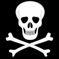 Icon white skull. Raster.