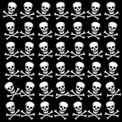 Background with white skulls. Raster.