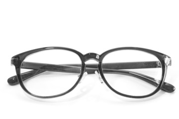 Black eyeglass frame isolated on white background