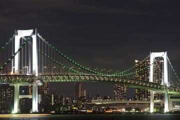 Tokyo rainbow bridge and Tokyo city view at night time