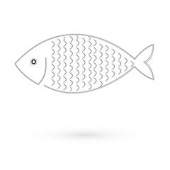 Icon of fish. Raster