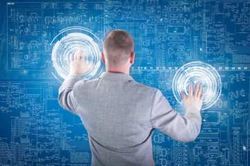 Businessman working with digital virtual screen; business concep