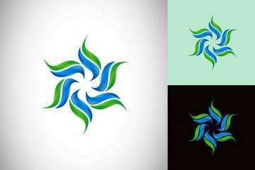 circular flower abstract technology vector logo