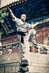 Shaolin warriors monk in traditional kimono
