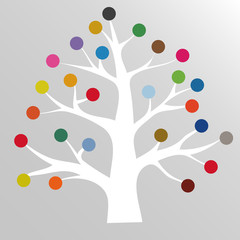 Tree with colorful circles abstract background