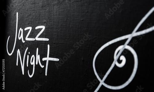 canvas print picture Jazz Night advertisement sign on blackboard