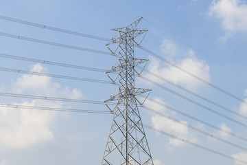 High voltage tower with sky