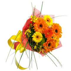 Bouquet from Gerbera Flowers Isolated on White Background.