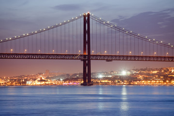 25 de Abril Bridge in Lisbon at Night