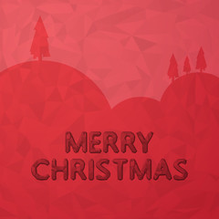 Low Poly Merry Chrsitmas Sign on Red Background