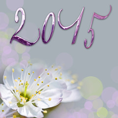 2015, shiny text and cherry tree flower close up