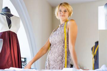 Seamstress in atelier studio