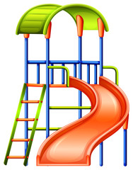 A colourful slide at the park