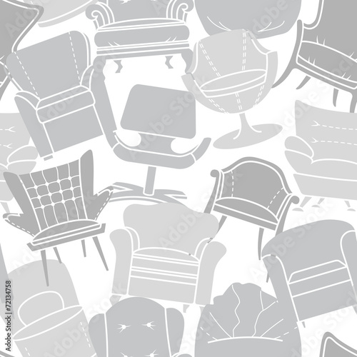 Seamless vector pattern of grey armchairs - 72134758