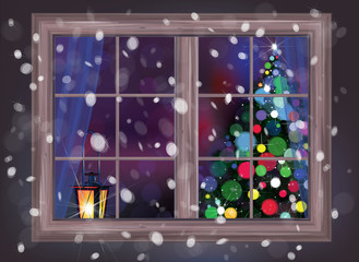 Vector winter night scene of window with Christmas tree and lant