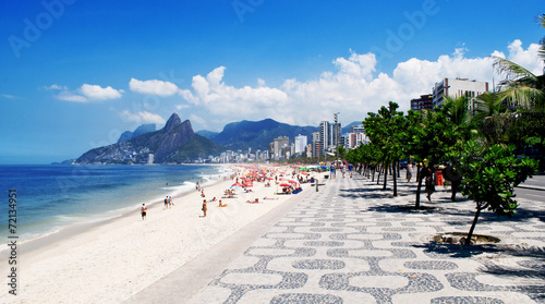 City on the water Sidewalk of Ipanema in Rio de Janeiro. Brazil