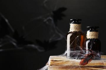 Frightful still life for Halloween, on dark background