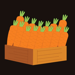 carrots in a wooden crate. vector illustration
