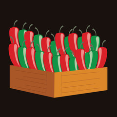 red and green chili in a wooden crate. vector illustration