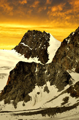 Rimpfischhorn at sunset  in the Swiss Alps