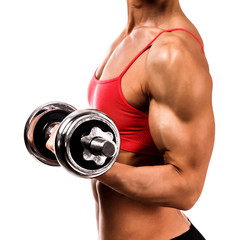 Fit woman with a barbell
