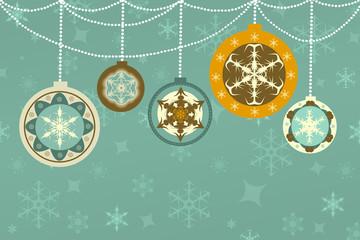 Weihnachte Karte mit Christbaumkugeln, Retro