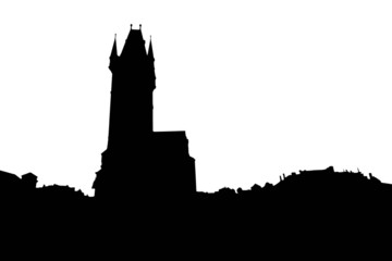 Old City Hall in Prague silhouette