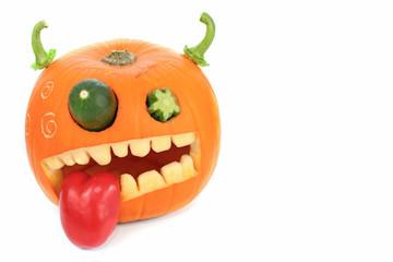 Pumpkin carved for Halloween. Jackolantern