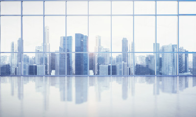 large window into white office with megalopolis view
