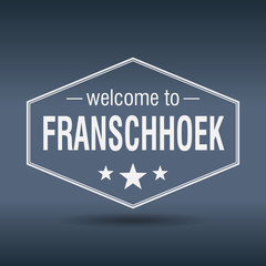 welcome to Franschhoek hexagonal white vintage label