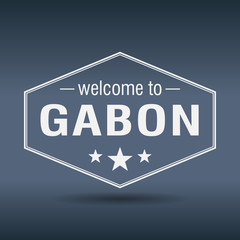 welcome to Gabon hexagonal white vintage label