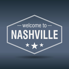 welcome to Nashville hexagonal white vintage label