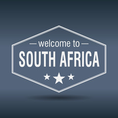 welcome to South Africa hexagonal white vintage label