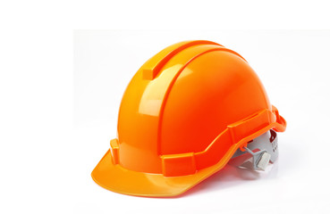 Orange safety helmet isolated on white background, hard hat on w
