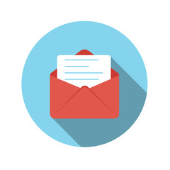 Flat Design Concept Email Send Icon Vector Illustration With Lon