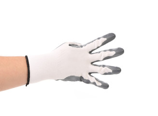 Hand in glove showing four.