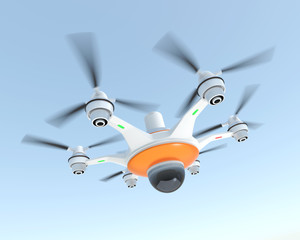 Drone with camera for new security system concept.