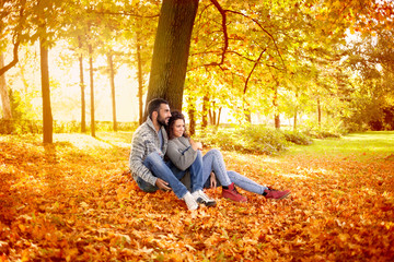 smiling couple in love in autumn in park