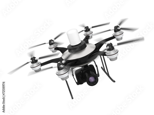 Leinwanddruck Bild Drone mounted with DSLR for aerial photography