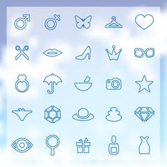 25 beauty, glamour icons set