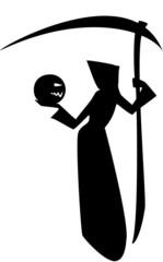 Death with a scythe and a pumpkin