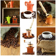 Collage of coffee different utensils for boiling coffee