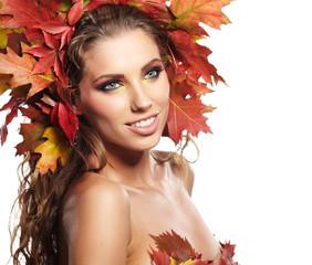 Beautiful Autumn Woman portrait