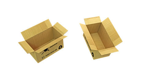 open cardboard boxes